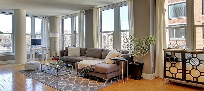 staged living room in hoboken